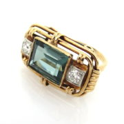 Antique Art Nouveau 0.30ct Old Mine Cut Diamond & 6.0ct Synthetic Spinel 14K Gold Ring JW62-2