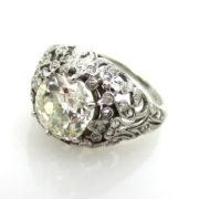 Antique Edwardian 2.53ct Old Mine Cut Diamond Platinum Decorated Ring ED30-2