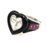 Vintage 1.50ct Heart Shape Diamond 0.60ct Ruby & Onyx Platinum Ring AN227-2