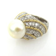 Vintage 12mm Pearl & 2.40ct Diamond Platinum & 18K Yellow Gold Decorated Dome Ring DB6-2