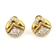 Vintage Bulgari 3.0ct Diamond & 18K Yellow Gold Clip Earrings RM36-3