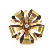 1950's Retro Tiffany & Co 0.25ct European Cut 14K Yellow & Rose Gold Flower Brooch JW60-3