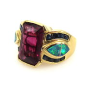 Vintage 6.0ct Tourmaline & 0.50ct Sapphire & Opal 18K Yellow Gold Ring AN227-3
