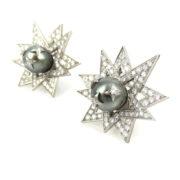 Estate 7.50ct Diamond & South Seas Tahitian Pearl Platinum Star Earrings OA24-3