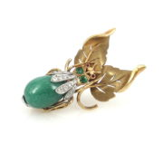 Vintage Diamond & Emerald Aventurine 14K Yellow Gold Insect Brooch JW60-4