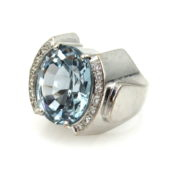 Estate 15.0ct Natural Aquamarine & 0.45ct Diamond & 18K White Gold Ring AN227-4