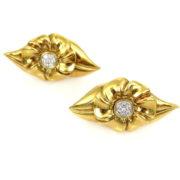 Vintage Mesara Diamond & 18K Yellow Godl Large Flower Clip Earrings OA24-4