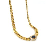 Vintage 1.0ct Diamond & 1.25ct Sapphire 18K Yellow Gold Heart Necklace RM36-5