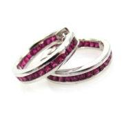 Estate 1.50ct Princess Cut Ruby & 14K White Gold Huggies Earrings JW62-5