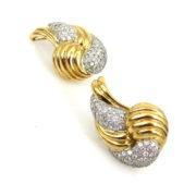 Vintage 4.0ct Diamond 18K White & Yellow Gold Pave Set Clip Earrings OA24-5