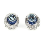Estate 0.48ct Diamond 0.80ct Aquamarine & 0.30ct Sapphire 18K White Gold Flower Earrings DB6-5