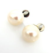 Pair of Fine 15.8mm South Sea Pearl & 0.40ct Diamond 18K White Gold Earrings  DB5-5