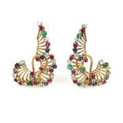 Vintage 0.66ct Diamond 1.50ct Sapphire Ruby & Emerald 18K Gold Earrings JW62-6