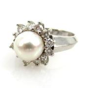 Estate 0.50ct Diamond & 8mm Pink Saltwater Pearl 18K White Gold Ring AN227-6