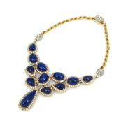 Vintage 14.0ct Diamond & Lapis Lazuli 14K Yellow Gold Necklace SM20-6