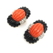 1960's 2.80ct Diamond Natural Coral & Onyx 18K Yellow Gold Carved Clip Earrings OA24-6
