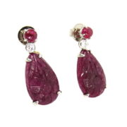 Estate 14.50ct Carved Ruby & 0.28ct Diamond 18K White Gold Dangling Earrings  DB5-6