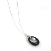 Vintage 1.25ct Diamond 11mm Pearl & Onyx 18K & 14K White Gold Necklace JW62-7