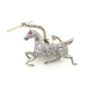 Antique 1.25ct Old Cut Diamond & Ruby Platinum Horse Pin ED30-7