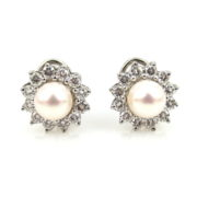 Estate 1.40ct Diamond & 6.7mm Pearl 18K White Gold Piece Clip Earrings AN227-8