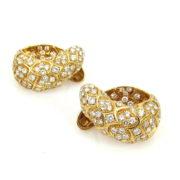Vintage 5.0ct Diamond & 18K Yellow Gold Fancy Huggies Earrings OA24-7
