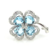 Estate 1.30cts Diamond & 12.0ct Heart Shape Aquamarine 18K White Gold Clover Pin JW60-8