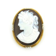 Antique Agate Cameo Natural Seed Pearls 14K Yellow Gold Brooch DB6-8