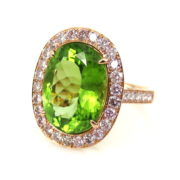 Rare 10.0ct Natural Peridot & 1.50ct White & Pink Diamond 18K Rose Gold Ring DB4-9