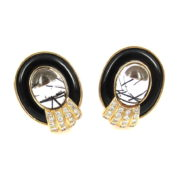 Vintage 1.0ct Diamond Onyx & Rutilated Quartz 14K Yellow Gold Earrings AN227-9