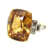 Fine 15.0ct Yellow Zircon & 0.98ct Diamond 18K Yellow & White Ring  DB5-9