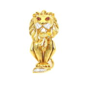 Vintage 0.75ct EF/VS Diamond & 18K Gold Hand Made Lion Brooch AN227-10