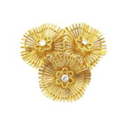 Vintage 0.35ct FG/VS Diamond & 18K Yellow Gold Triple Flower Brooch JW60-11