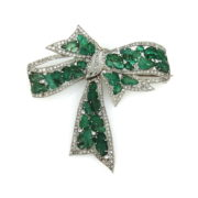 Antique 3.0ct Diamond & 15.50ct Colombian Emerald Platinum Bow Brooch DB4-11