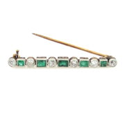 Edwardian 0.85ct Old Mine Cut Diamond & 0.85ct Emerald Platinum & Gold Bar Pin JW60-12