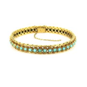 Vintage Natural Turquoise & 18K Yellow Gold Hand Carved bracelet AN227-14