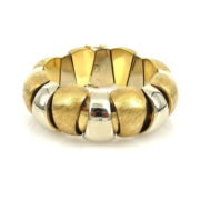 Unique 1960's White & Yellow Gold Hand Carved Dome Bracelet JW60-16