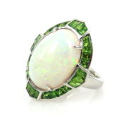 Fine 7.0ct Natural Opal & 2.50ct Demantoid Garnet & 18K white Gold Ring DB4-17