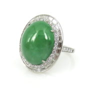 Fine 2.50ct Diamond & Natural Jadeite Jade 18K White Gold Double Halo Ring DB4-18