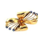1950's Retro Tiffany & Co Sapphire & Citrine 14K Yellow Gold Flower Brooch JW62-4
