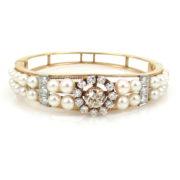 Vintage 2.36ct Diamond & Cultured Pearl 14K Gold Hinged Bangle ED29-2
