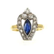 Antique 0.39ct Old Mine Cut Diamond Platinum & 14K Gold Ring ED29-6
