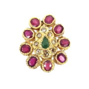 Estate 0.88ct Diamond 7.0ct Ruby & 0.60ct Emerald 14K Yellow Gold Ring ED29-8