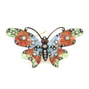 Vintage Diamond Ruby & Plique A Jour Enamel Silver & 18K Gold Butterfly Brooch SM20-2