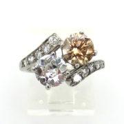 Vintage 1.10ct White Old Mine Cut & 1.10ct Brown Diamond Platinum Ring SM20-4