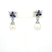 Fine Somenzi Diamond Sapphire & Pearl 18K White Gold Drop Earrings WN35-4