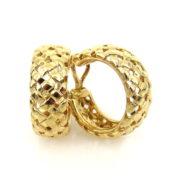 1995 Tiffany & Co 18K Yellow Gold Domed Basket Weave Earrings WN35-5