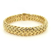 1995 Tiffany & Co 18K Yellow Gold Domed Basket Weave Bracelet WN35-6