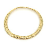 1995 Tiffany & Co 18K Yellow Gold Domed Basket Weave Necklace WN35-7