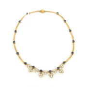 Fine Somenzi 3.15ct Diamond & 2.40ct Sapphire 18K Yellow Gold Necklace WN35-10
