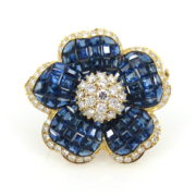Somenzi Invisible Set 10.0ct Sapphire & 3.0ct Diamond 18K Yellow Gold Flower Pendant Brooch WN35-11